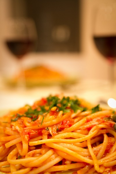 Pasta with Wine Glasses / London 2013
