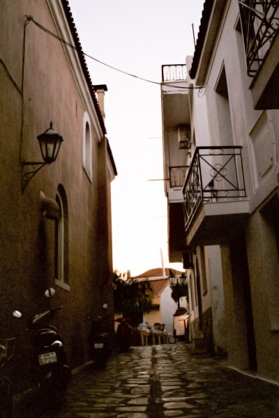 Scooter in a Narrow Street / Greece 2012